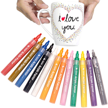 STA 12 Colors Acrylic Paint Marker pen Sketch Stationery Painting Crafting Set for Ceramic Rock Glass Porcelain