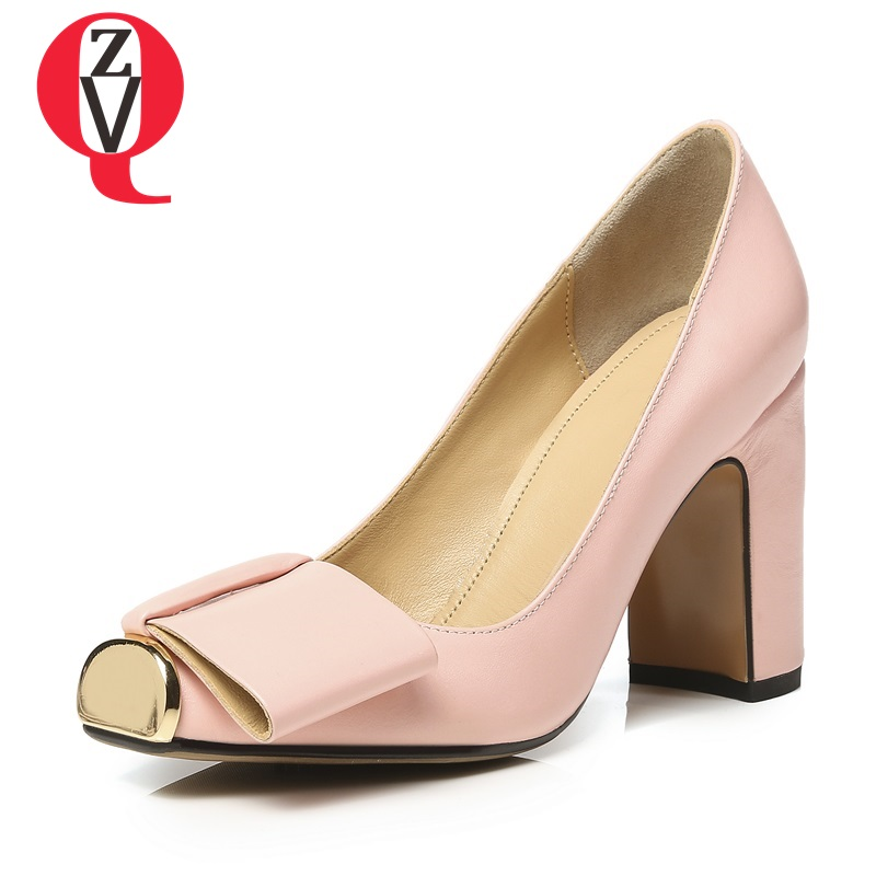 ZVQ butterfly-knot candy color metal decoration skid resistance female shoes square toe sheepskin thick woman bowtie pumps цена