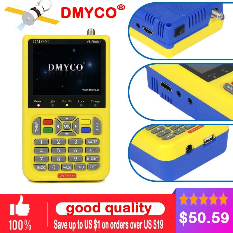 100% Original DMYCO V8 DVB-S2 SatFinder HD de Alta Definição de TV Digital Satellite Finder MPEG-2 MPEG-4 FTA Metros Localizador Via Satélite