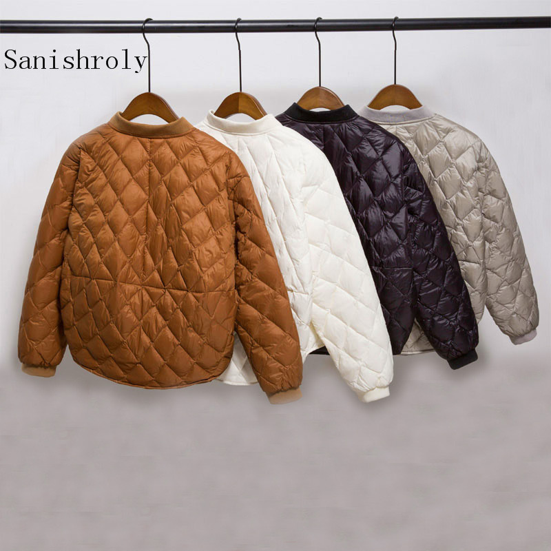 Sanishroly 2018 Autumn Winter Women White Duck   Down   Jacket Female Button Ultra Light   Down     Coat   Short Parka Tops Plus Size SE290