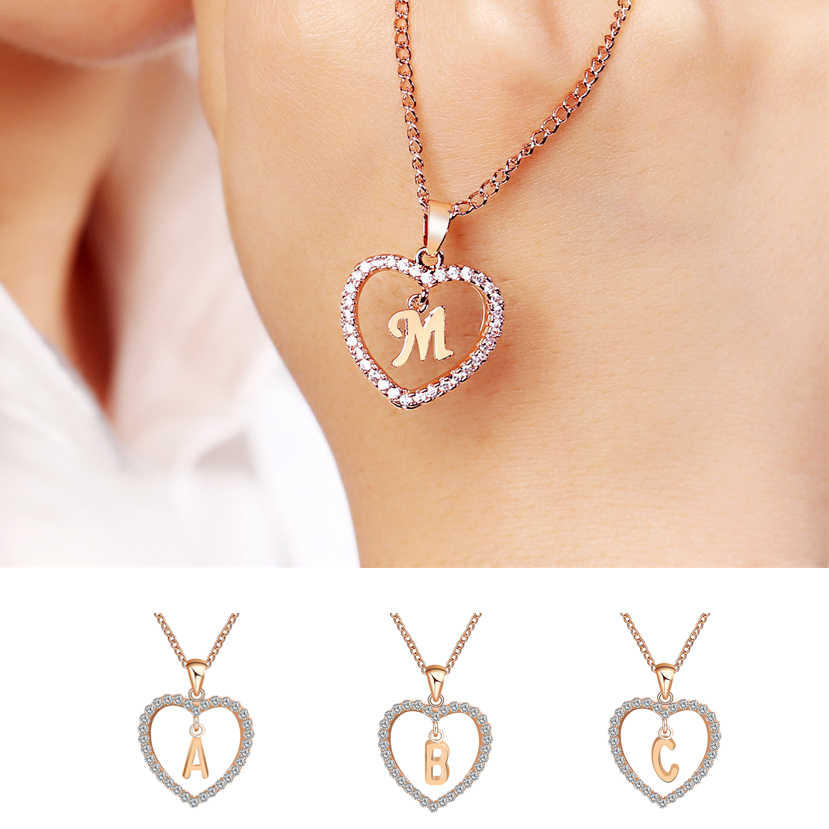 26 Letter Name Necklaces & Pendant For Women 26 Letters Gold Chain Heart Choker Necklaces Women Fashion Statement Jewelry Bijoux