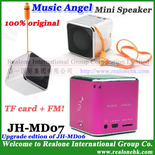 Mini Speaker Music Player, Portable speaker MUSIC ANGEL box JH-MD07 mini TF card FM radio+cool quality - REALONE -Mini Power Supplier store