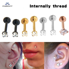 1Pc Titanium Rose Gold Silver Labret Lip Ring Zircon Anodized Internally Threaded Prong Gem Monroe 16G Tragus Helix Ear Piercing