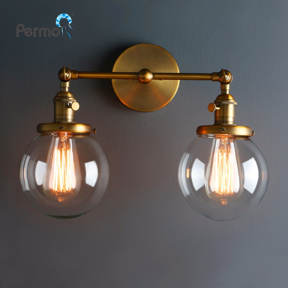 Modern Vintage Loft Globe Glass Double Heads Wall Light Retro Glass Ball Wall Lamp Country Style E27 Edison Sconce Lamp Fixtures