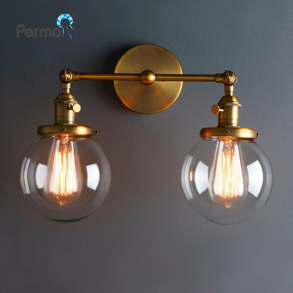 Moderne Vintage Loft Globe En Verre Double Têtes Murale Rétro Boule De verre Mur Lampe Pays Style E27 Edison Applique Lampe appareils