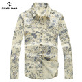 SHAN BAO brand clothing good quality 95% cotton fashion Slim long-sleeved shirt 2017 spring Paisley pattern print shirt men