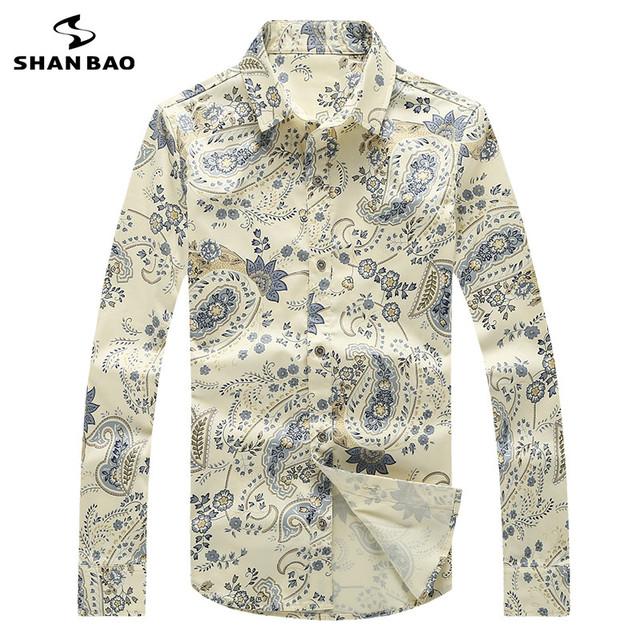 SHAN BAO marca ropa de buena calidad 95% algodón de la manera Delgada camisa de manga larga 2017 primavera camisa de estampado de patrón de Paisley hombres