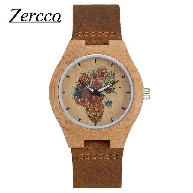 Zeroo women men Sunflower art creative watch Ebony Wooden Watches  Fashion lovers watch with Soft Leather Band with Gift Box