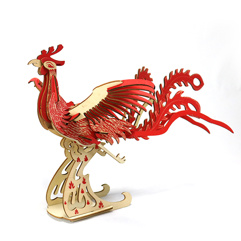 Candice Guo Wooden Toy 3D Puzzle Hand Work DIY Assemble Game Woodcraft Kit Red Phoenix Fenghuang Decoration Birthday Gift 1pc