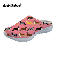 doginthehole Womens Clogs Outdoor Slippers Cute Corgi Printing Sport Sandals for Women Breathable Beach Shoes Water Lightweight