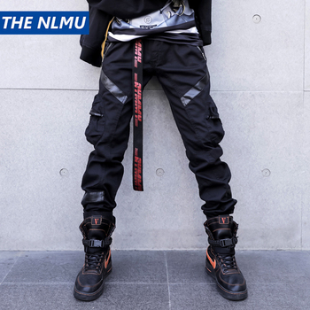 Black Cargo Pants Men Women Leather Patchwork Tactical Pants 2018 Autumn Multi-pocket Hip Hop Trousers Fashion Streetwear W0093