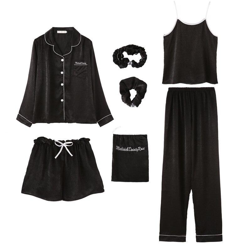 First Sight Women's 7 Pieces Pajamas Sets Emulation Silk Letter Pajamas Women Sleepwear Sets Spring Summer Autumn Homewear