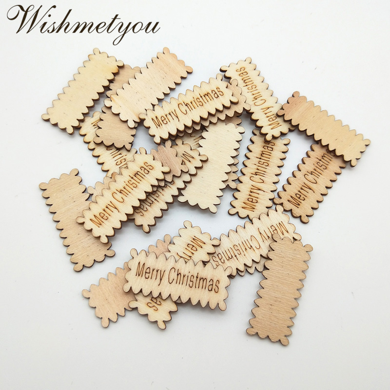 WISHMETYOU 30pcs Merry Christmas Letters Wood Slices Decor Xmas Party Home Embellishment Scrapbooking Crafts Wooden Tags Wall