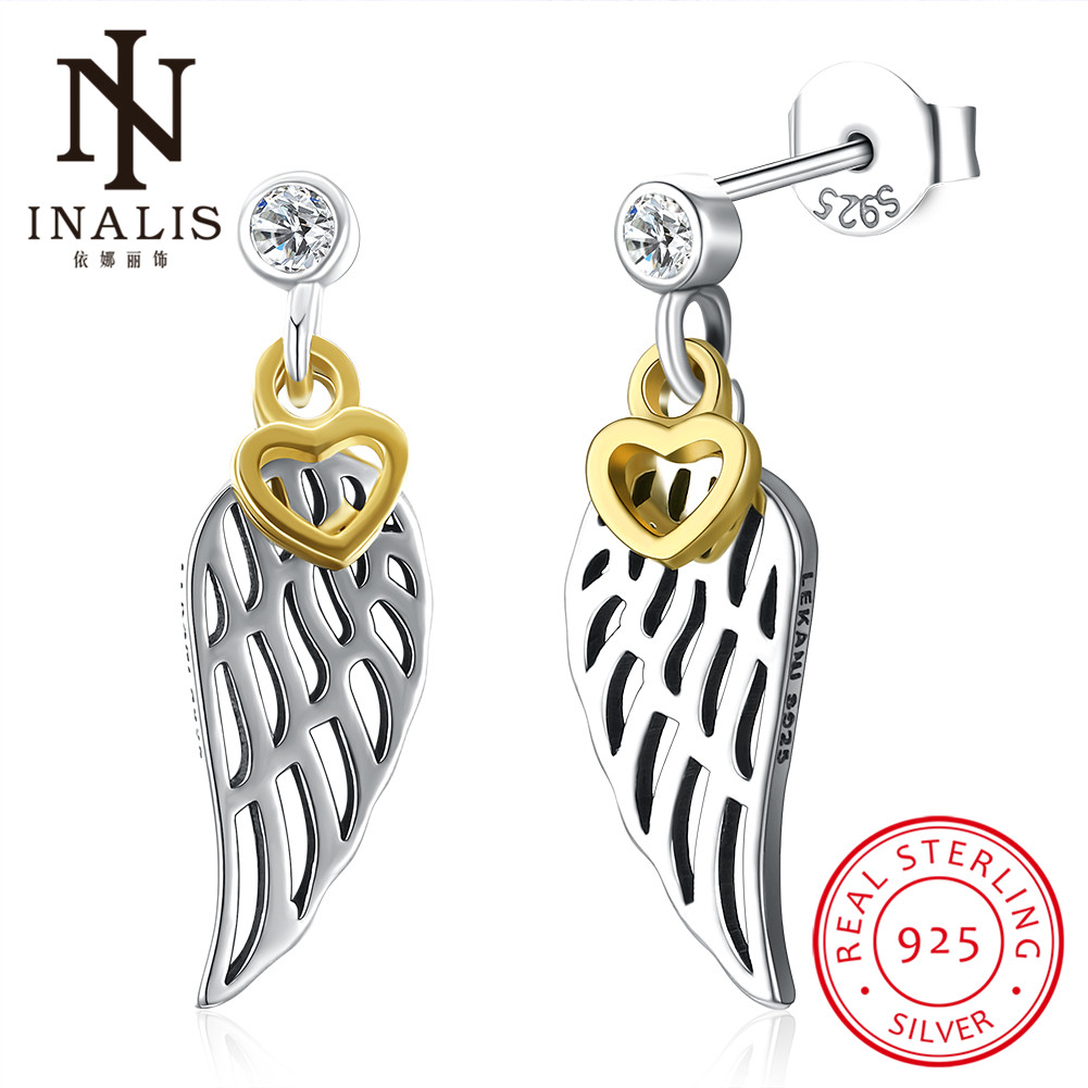 INALIS Fashion Hollow Wings Stud Earrings Yellow Heart Fine Jewelry for Women Wedding Party Dress 925 Silver Bijoux Mothers Day