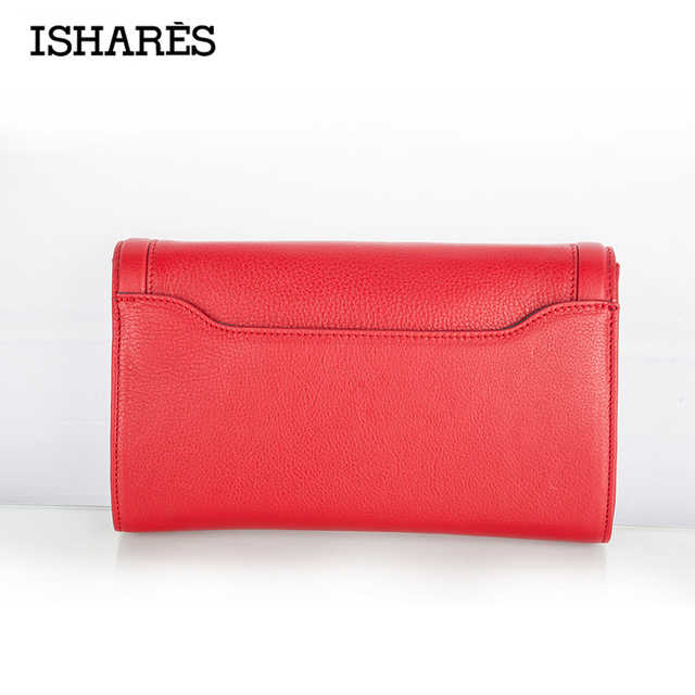 ISHARES Vintage Genuine Cowhide Handbags Evening Gowns Packet Women Hasp Crossbody Shoulder bags  Day Clutches Bags IS805