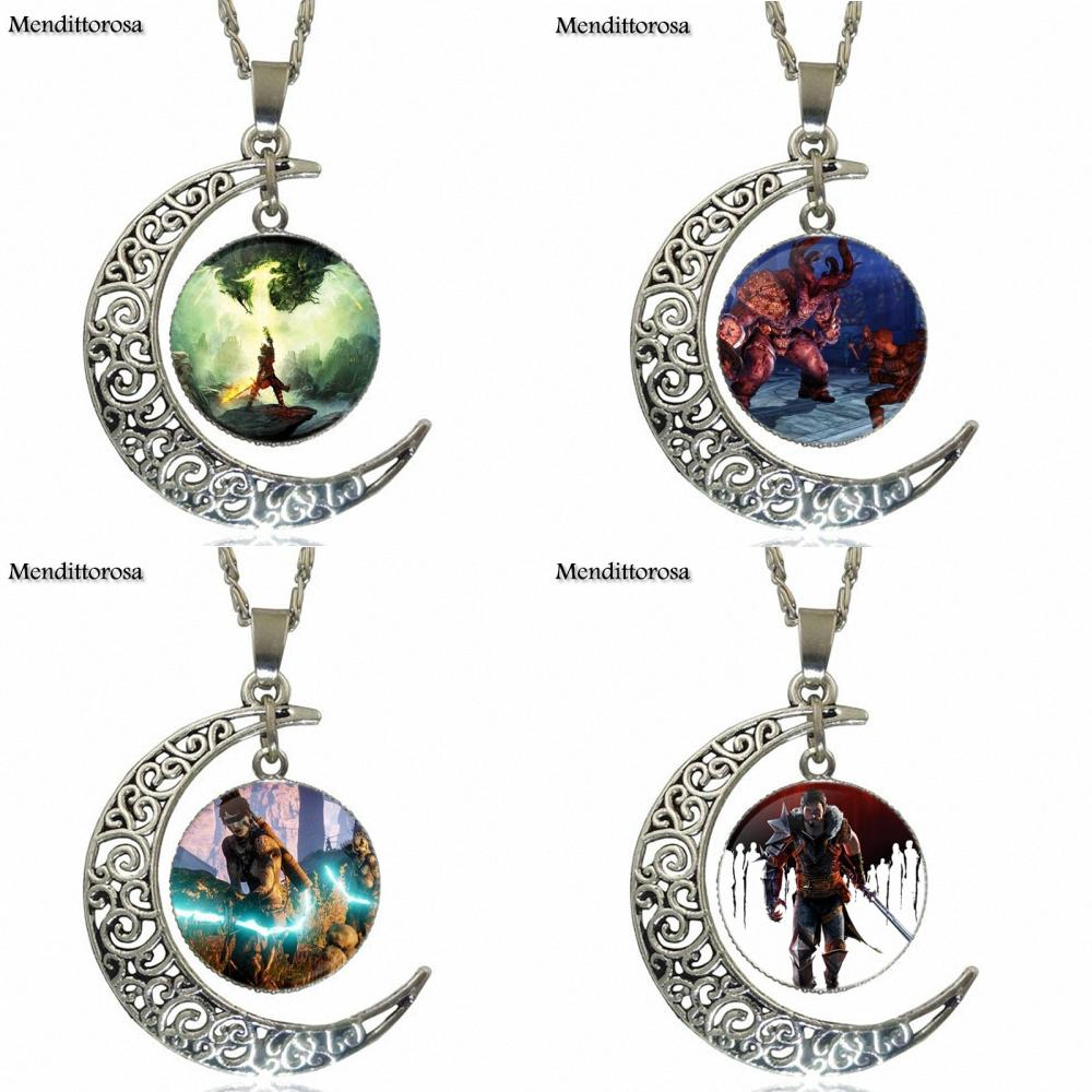 For Women Men Dragon Age Vintage Jewelry Silver Plated With Glass Cabochon Crescent Moon Choker Long Pendant Necklace