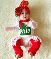 2016 Newborn Baby Girl Xmas Long Sleeve Romper+Headband 2pcs/set Christmas Jumpsuit Baby Romper  H00144