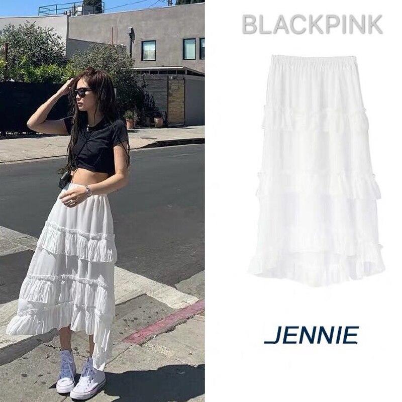 Kpop BLACKPINK JENNIE The Same White Super Sweet Fairy Dress Summer Kawaii Elegant Dress Women Streetwear Tshirt Dresses Clothes