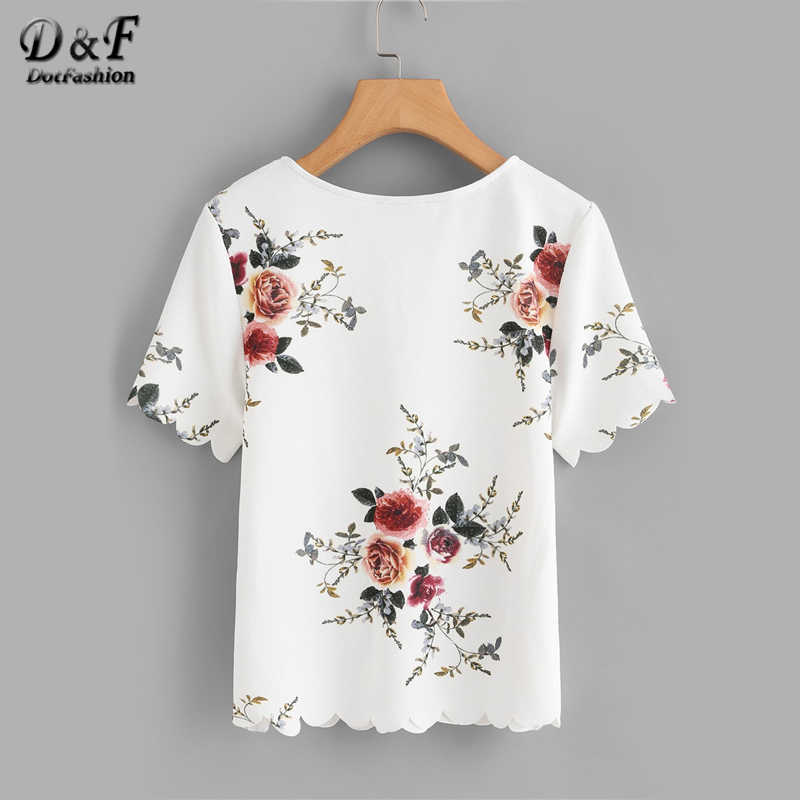 Dotfashion 白フラワープリントスカラップレディーストップスやブラウス 2019 夏カジュアル半袖韓国のファッション服ブラウス