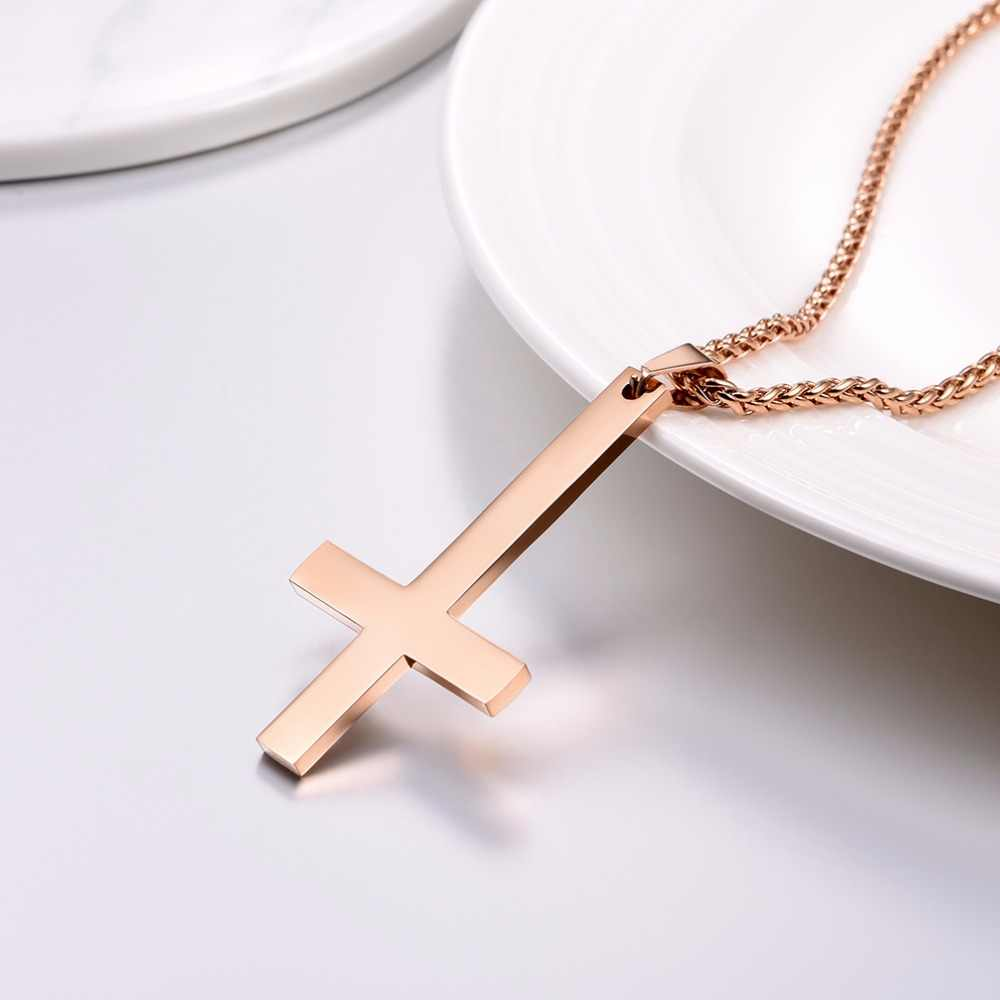 Cross of Saint Peter Inverted Necklace Stainless Steel/Gold/Black/Rose Gold Christian Jewelry Unisex Upside-down Cross P2527
