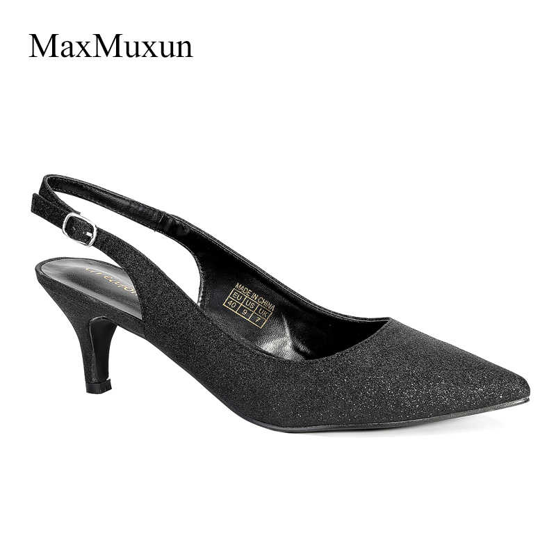 4c1efe876cb7 MaxMuxun Womens High Heel Pumps Fashion Ladies Bling kitten heel Glitter  Court Pointed Toe Party Wedding
