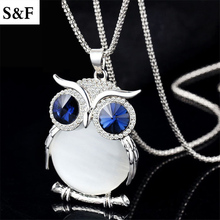 Fashion Jewelry Long Owl Necklaces&Pendants 15 Colors New Opal Austrian Crystals Necklaces Pendants For Women Gifts colar coruja