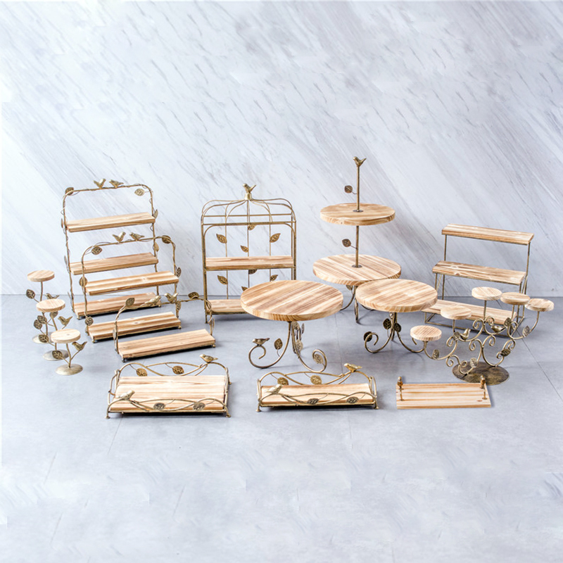 Wooden Wood Cake Stands Dessert Tray Bread Baking Shop Display Plates Wedding Home Party Table Decoration Metal Cupcake Stand Пирсинг ушей