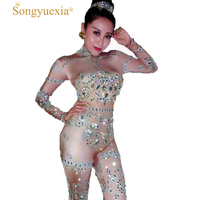 Bar Nightclub Business Auto Salon Girls Ds Woman Singer Host Distinguished Guest Woman Rhinestone Gogo Stage jumpsuit
