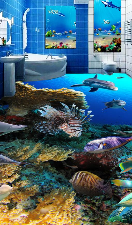 ФОТО Europea  bathroom wallpaper hd 3d stereoscopic floor tropical fish dolphin pattern wallpaper 3d photo wallpaper floor