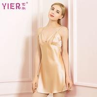 summer High quality YIER brand sexy 100% silk women nightgown silk pijama for women nightshirts sleepdress women's Silk dress