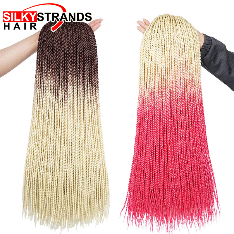 Ombre Crochet Senegalese Twist Crochet Braids Hair 24'' Synthetic Ombre Hair For African Woman Ombre Braiding Hair Extensions