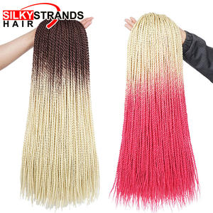Ombre Crochet Hair-Extensions Braids Senegalese Twist Hair-24'' Synthetic African