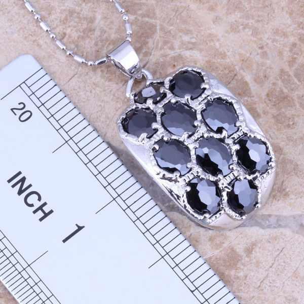 Black Cubic Zirconia Silver Platedชุดเครื่องประดับต่างหูจี้แหวนขนาด 5 / 6 / 7 / 8 / 9 / 10 S0013