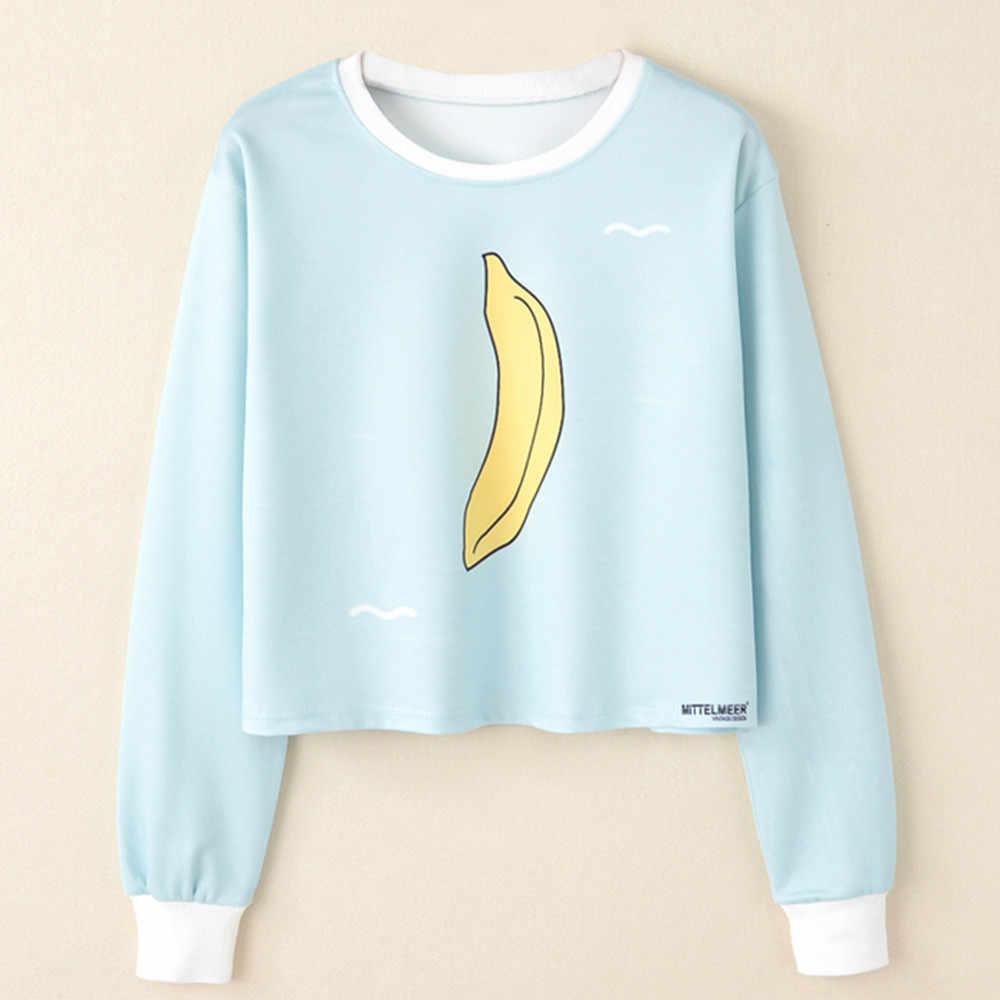 044588dbd Women Long Sleeve banana Print Casual Sweatshirt Pullover sky blue freshmen  Top Blouse busos para mujer