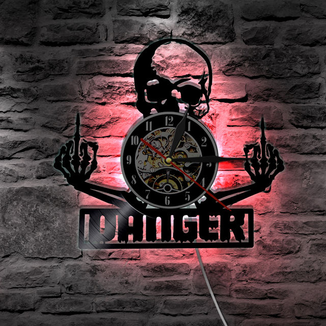 MIDDLE FINGER SKULL WALL CLOCK LED BACKLIGH