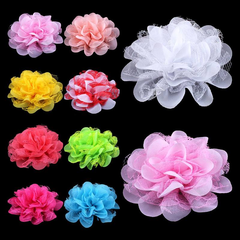 120pcs lot 4 1 17colors Shabby Lace Mesh Chiffon Flower For Kids Girls Hair Accessories Artificial