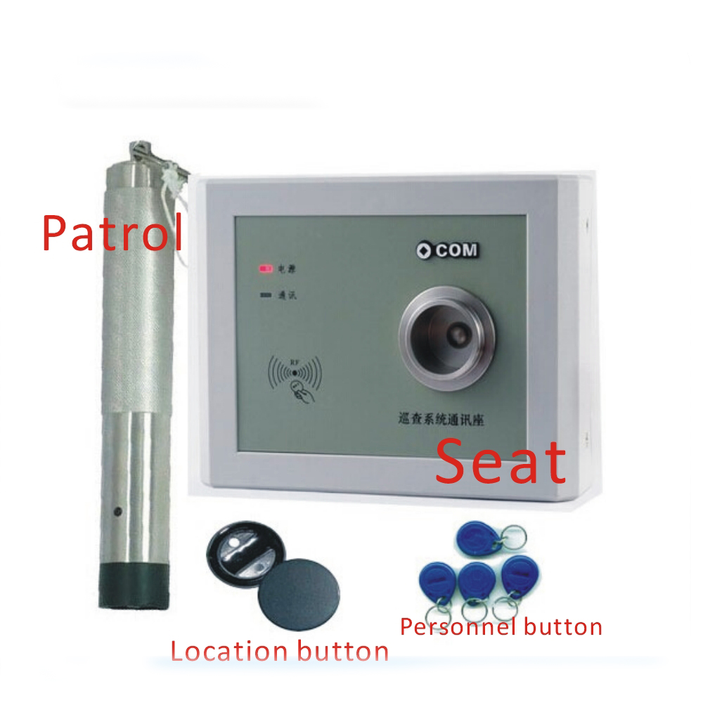 Free shipping OCOM-PA induction 125KHZ EM RFID card security patrol system /1 bar +1 data collection base +20 points button 10pcs sample 125khz rfid abs waterproof patrol button id patrol point