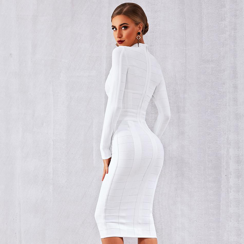 Elegant White Long Sleeve Sheath Bodycon Bandage Dress