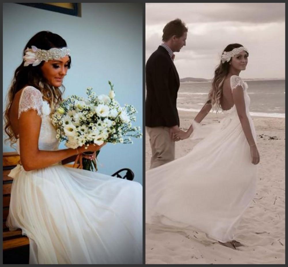 Elegant New Lace Cap Sleeve White A Line Wedding Dress Roman Style ...