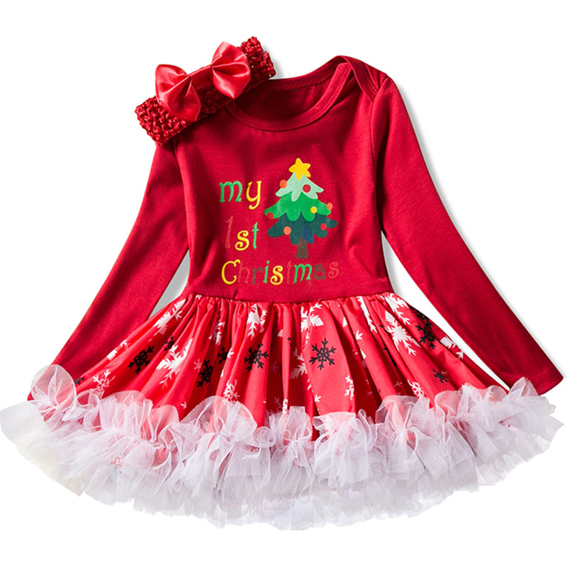 Newborn Baby Girl Clothes Brand Baby Christmas Clothing Tutu Dress My 1st First Christmas Party Baby Wear Infant Clothing 0-24M baby clothes christmas costume for baby infant party dress tutus newborn jumpsuit bebe romper baby girl clothing halloween gift