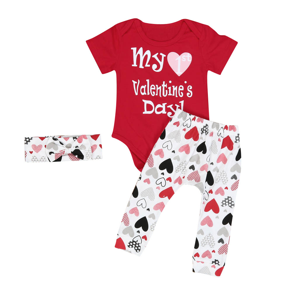 Fashion 2018 Infant Baby Boy Girl outfit Clothes Romper Pants Headband 3PCS Valentine's Outfits Set high quality Roupas Infantis us stock floral newborn baby girls lace romper pants headband outfit set clothes infant toddler girl brief clothing set playsuit