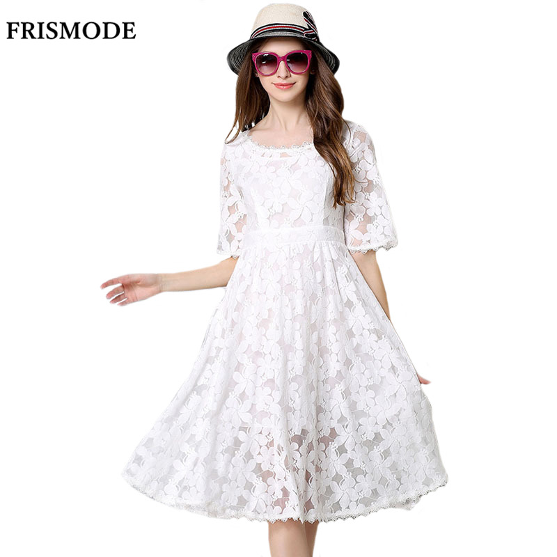 Frismode summer floral embroidery hollow out lace dress