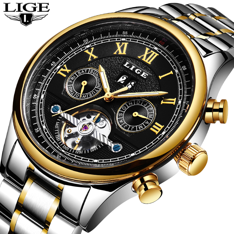 LIGE Top Brand Men s Luxury Business Fashion Watches Sports Casual Waterproof Mechanical Full Steel Clock
