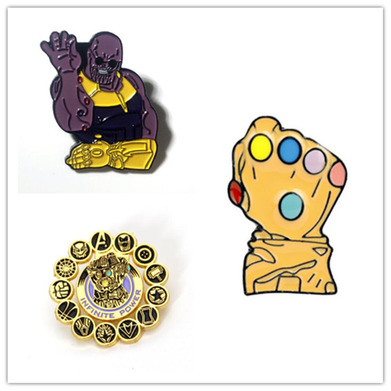 Movie Avengers 4 Endgame Thanos Brooch Cosplay Acc Badge Infinity Gauntlet Power Fashion Golden Jewelry Funny Fancy Brooch Gift