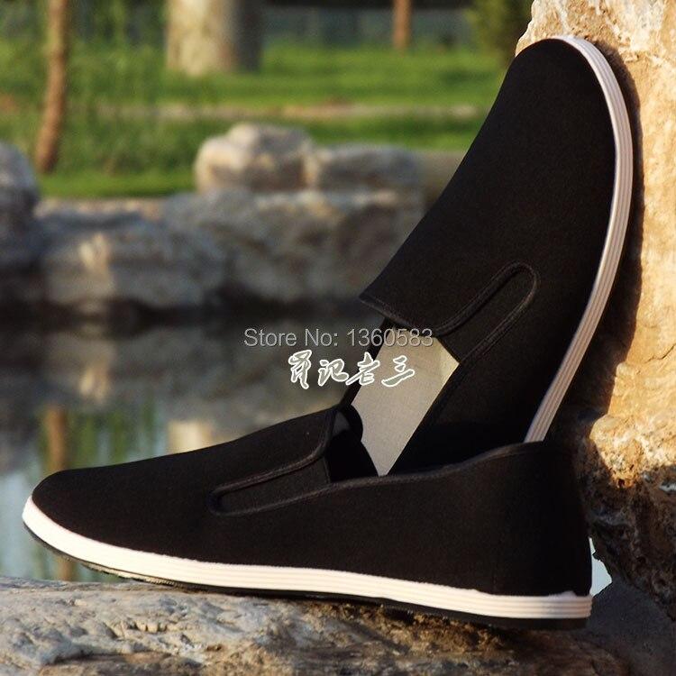 トップ品質黒綿靴ブルース·リーヴィンテージ中国カンフー靴詠春拳太極拳スリッパ武術純粋な綿靴