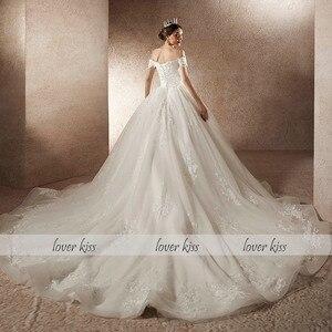 Image 4 - Lover beijo vestido de noiva vestido de noiva vestido de noiva de luxo miçangas fora do ombro com trem robe mariee mariage