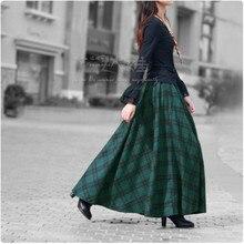 Женские юбки в стиле ретро, высокое качество, шерстяная зеленая клетчатая, весна-осень, трапециевидная длинная утолщенная Женская винтажная повседневная юбка 50S