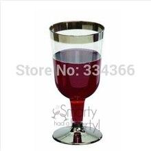 60pcs/lot 180ML Hard Plastic Wine Cup Disposable Plastic Drinkware 6oz Sliver Rim Color Fit Party Wedding Festival