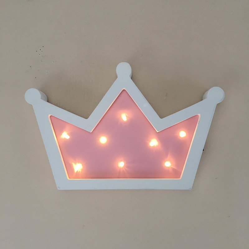 30CM Lovely Wooden Crown LED Night Light Baby Bedroom Sleeping 3D Table Lamp Romantic Wedding Birthday Party Decoration Lamp