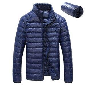 Ультратонкие Легкие мужские куртки-пуховики, Осеннее белое пальто-пуховик большого размера, 2019